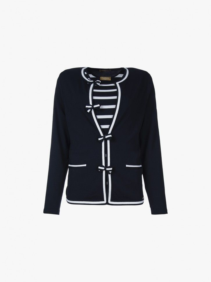 Conjunto de casaco de malha e camisola