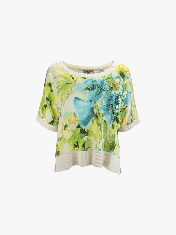 Camisola de malha florida