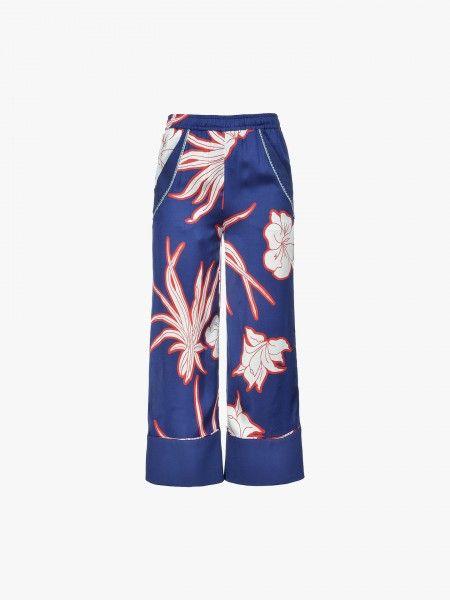Calça fluída com padrão floral