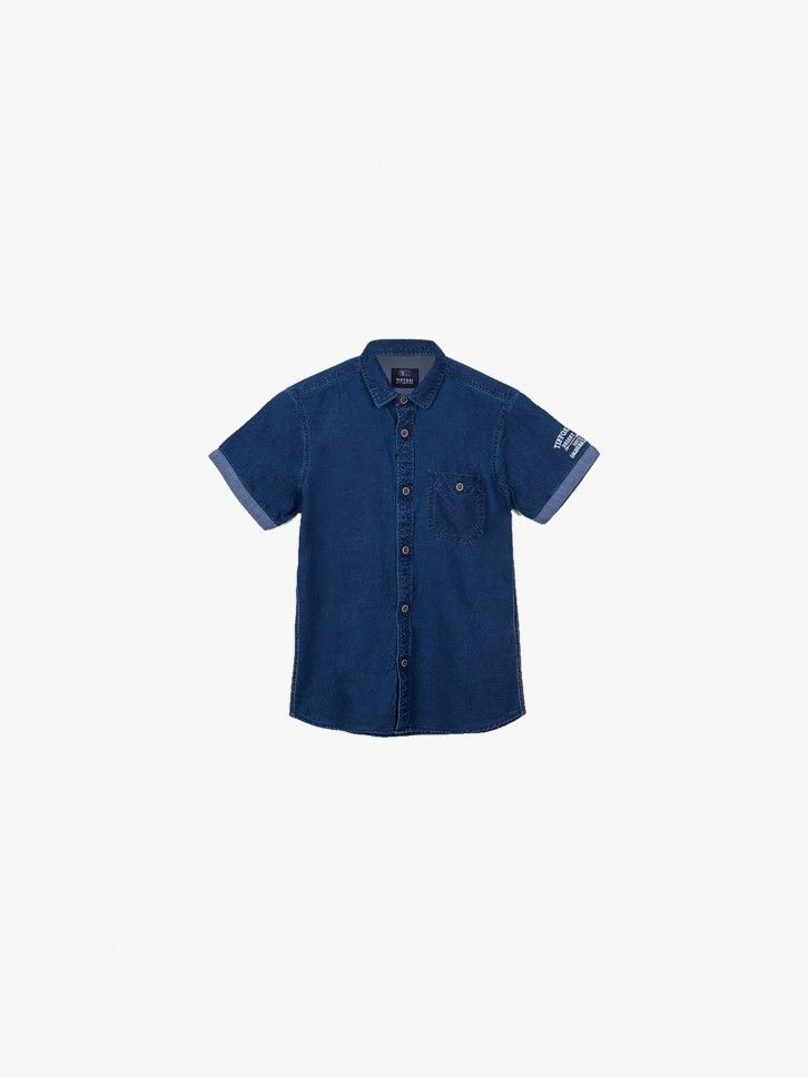 Camisa de ganga com bolso