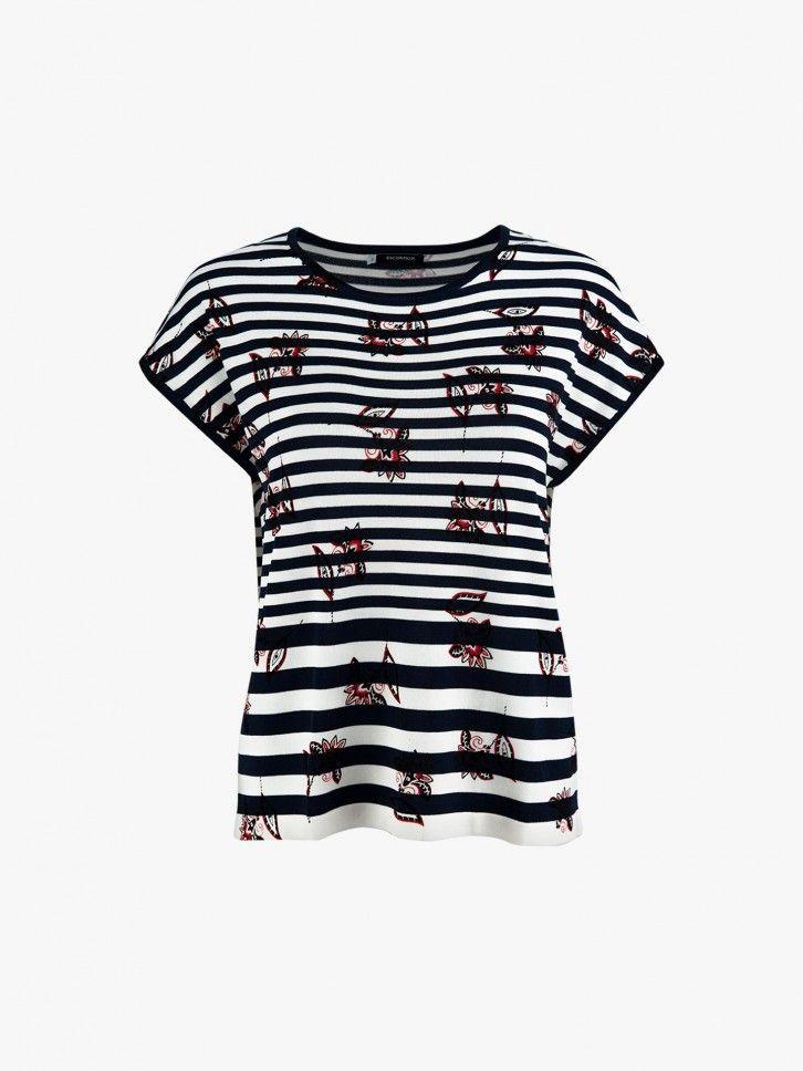 T-shirt fluída com padrão