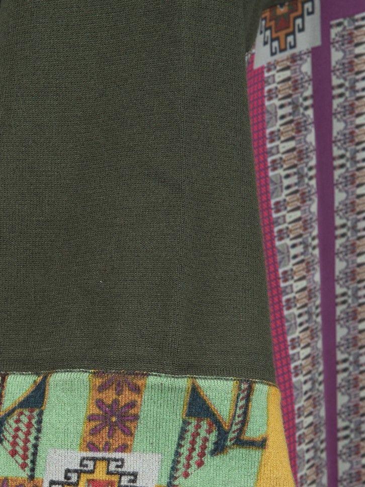 Casaco de malha com dois tecidos