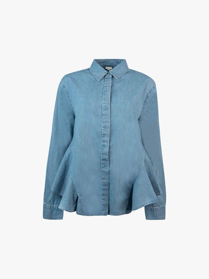 Camisa de ganga com folho