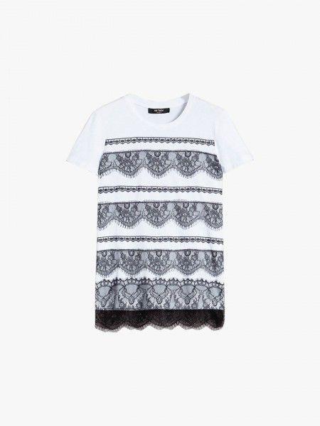 T-Shirt c/ detalhes de Renda