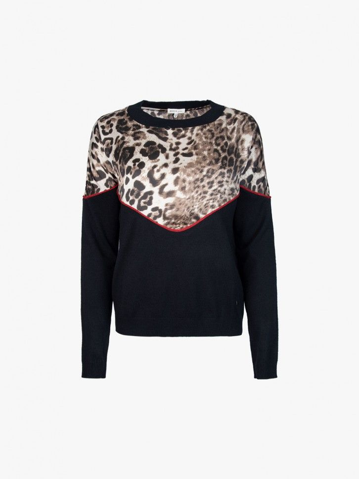 Camisola de malha com estampado leopardo