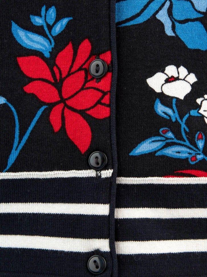 Casaco de malha estampado floral