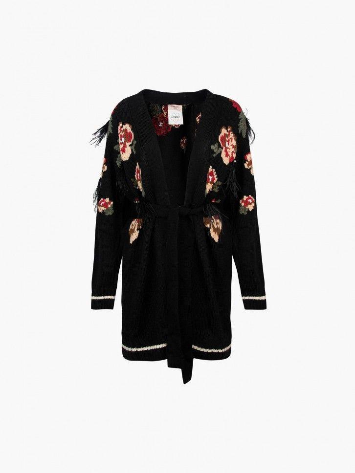 Casaco de malha padrão floral