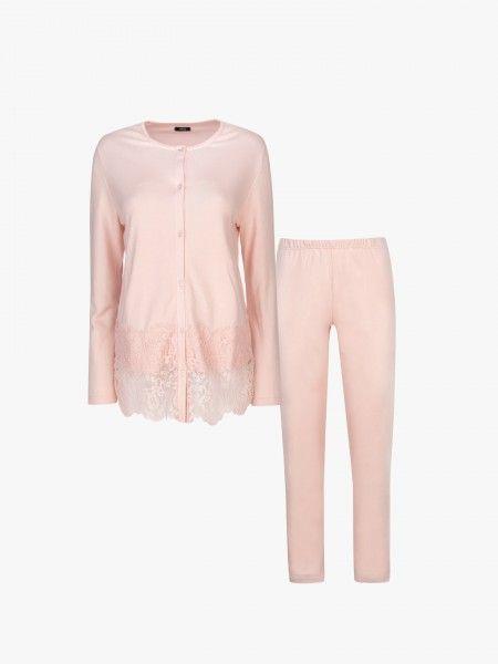 Pijama de algodão com renda