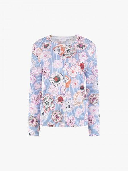 Casaco de malha com estampado floral