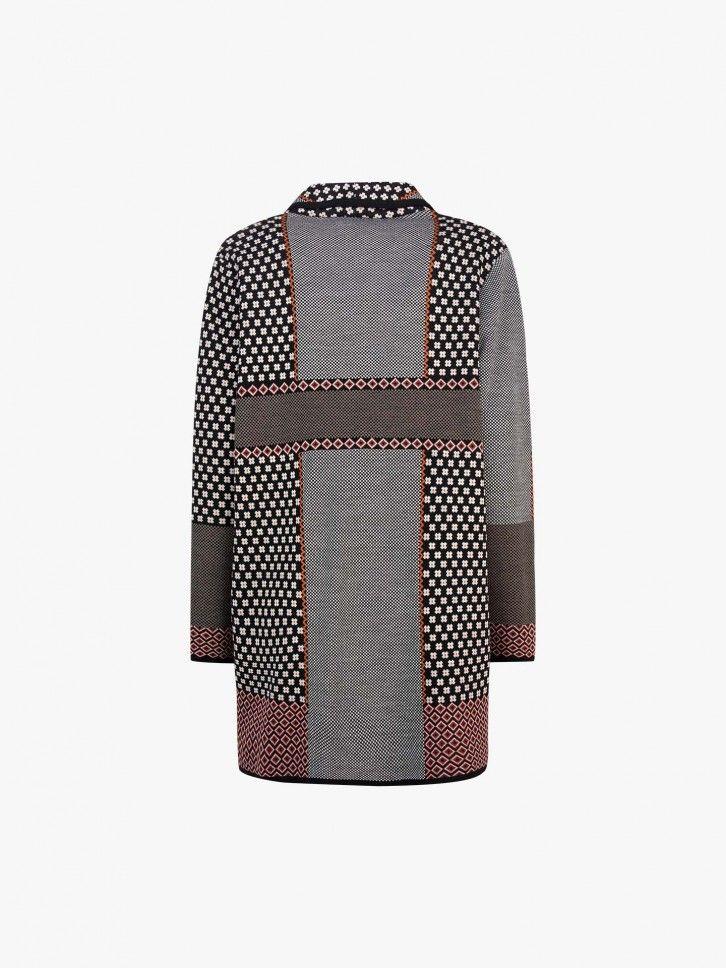 Casaco de malha com padrão geométrico