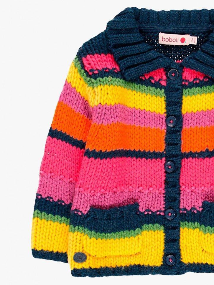 Casaco tricô multicolor