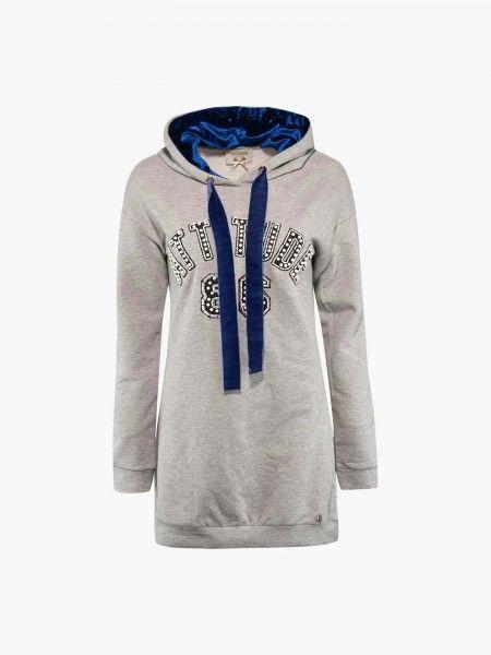 Sweatshirt comprida com capuz
