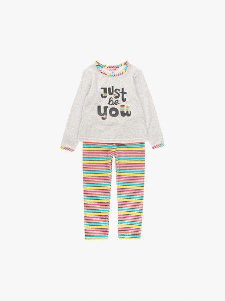 Pijama de calças às riscas