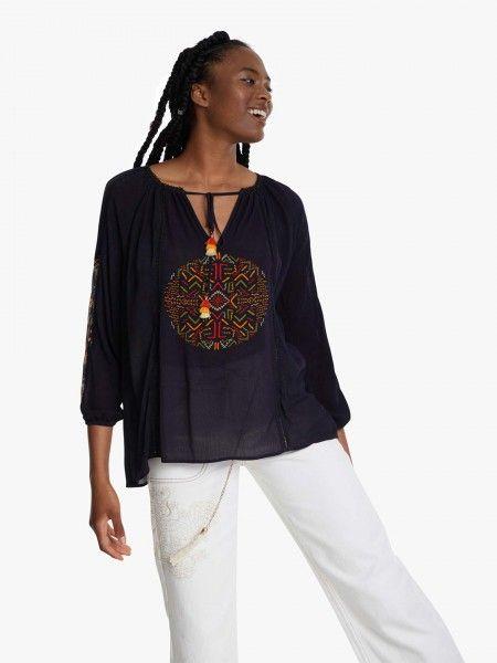 Blusa étnica com mangas compridas abalonadas