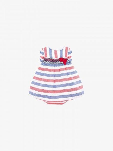Vestido de bebé às riscas