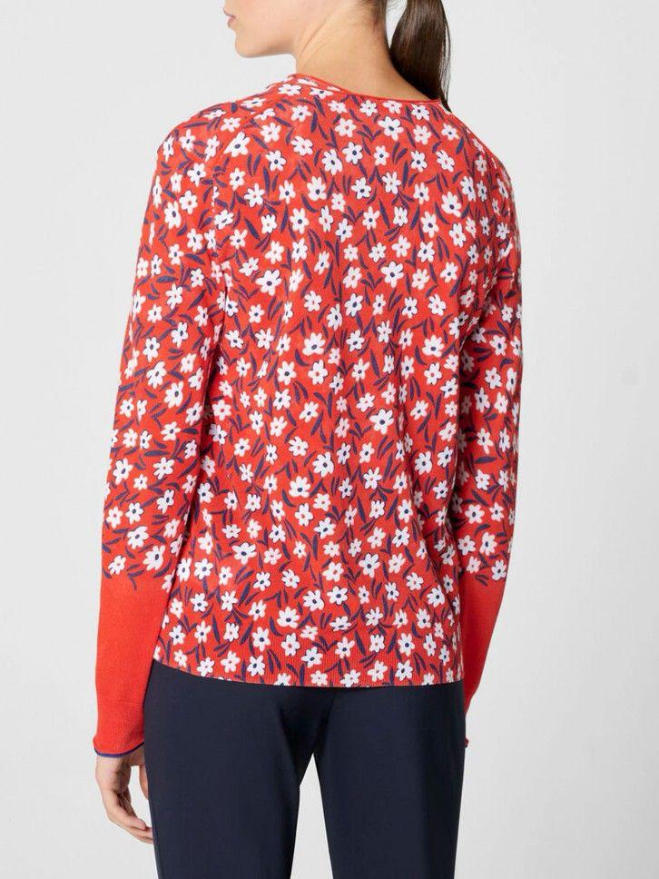 Casaco de malha floral