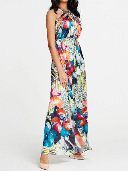 Vestido comprido com corrente