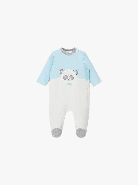 Pijama aveludado de manga comprida