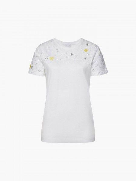 T-shirt com bordado floral