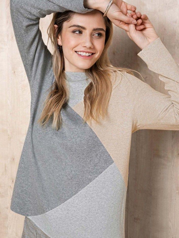 Camisola de Malha Color Block