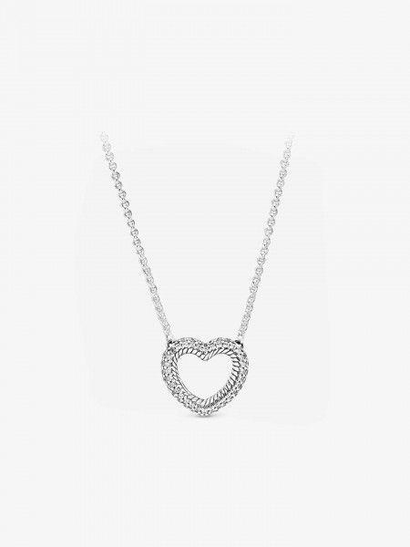 Colar Pavé Snake Chain Pattern Open Heart