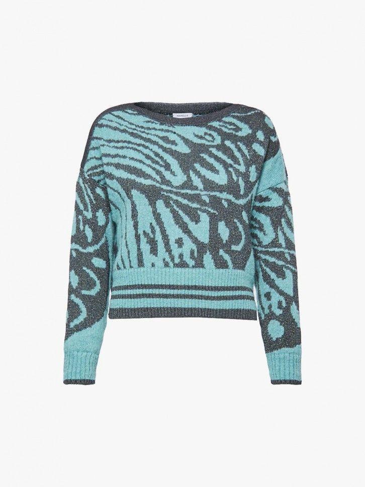 Camisola de malha bicolor