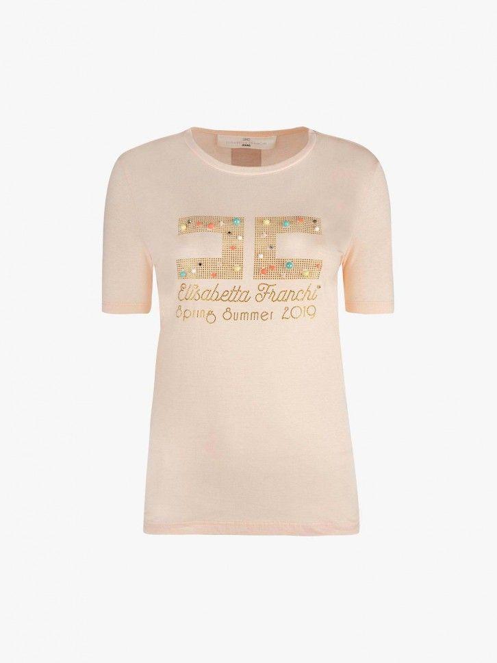 T-shirt com adereços brilhantes