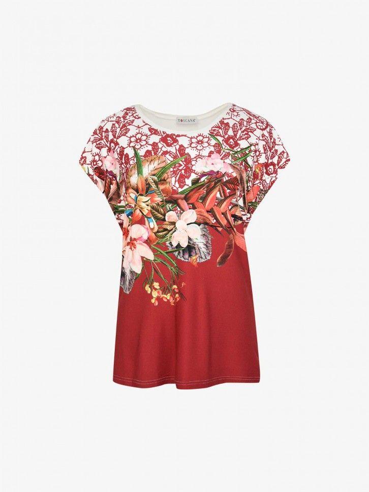 T-shirt com Padrão Floral