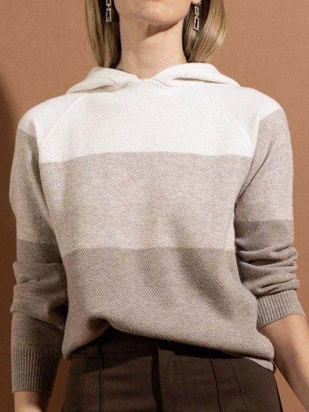 Sweatshirt de Lã com Capuz Color Block