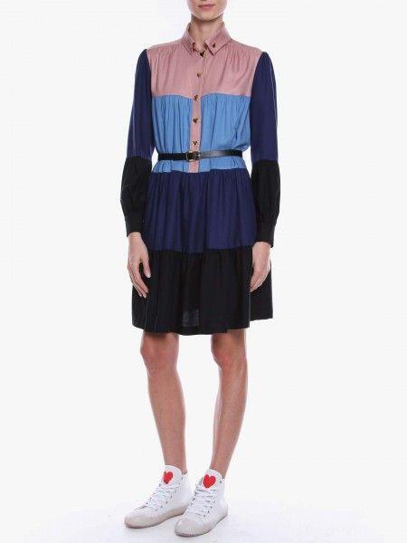 Vestido Curto Color Block