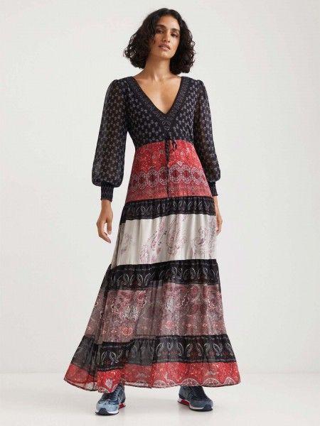 Vestido Comprido Color Block